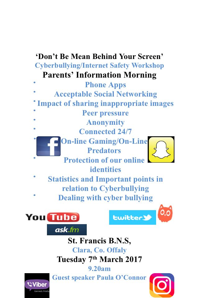 Internet Safety Talk- Tuesday 7th March 2017